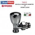 Valvola GIACOMINI CROMO LUCIDA T431C micrometrica termostatizzabile, a squadra, con attacco per adattatore