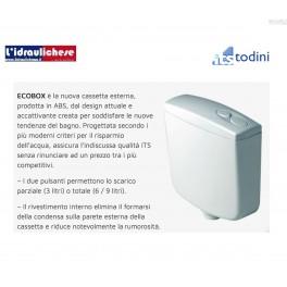 ECOBOX Cassetta di scarico esterna a scarico doppio con scarico parziale 3 litri, 6-9 litri.