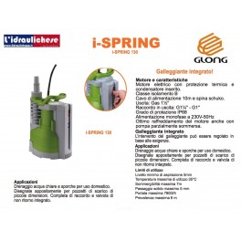 Elettropompa Sommergibile GLONG mod.I-SPRING 130 Acque chiare e scure HP.0,36