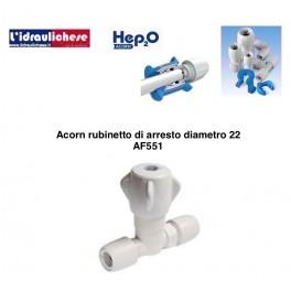 Acorn Rubinetto di arresto in PB diametro 22 art.AF551