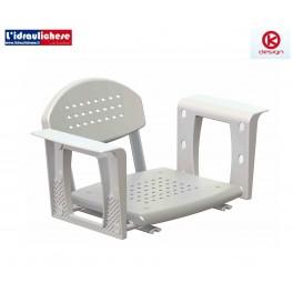 Sedile da vasca con schienale K Desig in polipropilene, alluminio, acciaio inox 510x455x116 mm