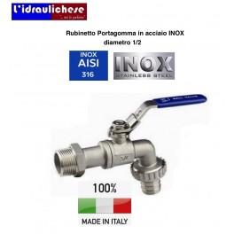 RUBINETTO PORTAGOMMA A SFERA TOTALMENTE IN ACCIAO INOX 316 DIAMETRO 1/2