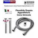 """Flessibile BOSSINI IN ottone doppia aggraffatura 1/2"""" x 1/2"""" FF cm.150 cono girevole incorporato"""