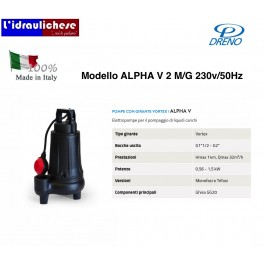 POMPA A IMMERSIONE DRENO ALPHA V 2 M/G 230V/50Hz