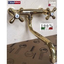 """Gruppo lavello parete GABOLI LUIGI, maniglia a croce, canna """"S"""" Ø18 mm OTTONE LUCIDO NATURALE"""
