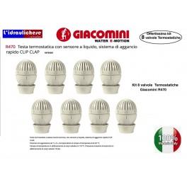 Testa termostatica GIACOMINI R470 con sensore a liquido Confezione 8 pezzi, sistema di aggancio rapido