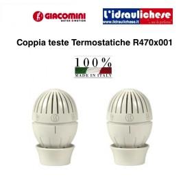 Testa termostatica GIACOMINI T470 con sensore a liquido, sistema di aggancio rapido confezione 2 p/z
