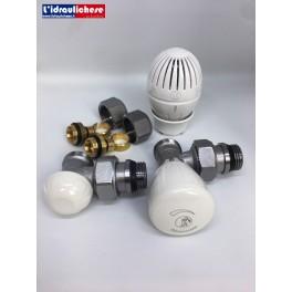 Kit Giacomini composto da valvola,detentore,due adattatori multistarto 16x2 e Testa termostatica