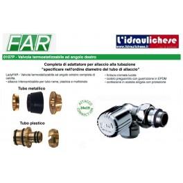 Valvola termostatizzabile LadyFAR  angolo destro completa di calotta e adattatore