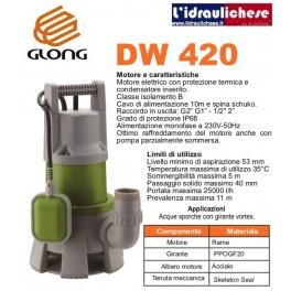 Elettropompa Sommergibile GLONG mod.DW 420 PER acque sporche