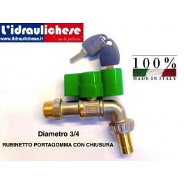 RUBINETTO D'EROGAZIONE A SFERA - PN 40 - MANIGLIA CON CHIAVE 3/4 MADE IN ITALY