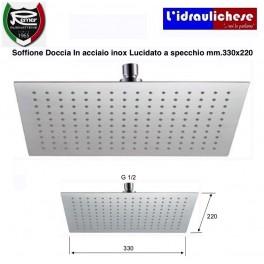 SOFFIONE DOCCIA ULTRA PIATTO REMER in acciaio INOX lucidato a specchio 330x220 mm.