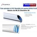 Tubo PVC flessibile Spiralato con guaina CEPEX PLUS Diametro 50 Rotolo da Mt.25