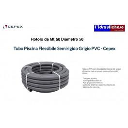 Tubo PVC Flessibile Semirigido Grigio Cepex Diametro 50 Rotolo da Mt.50