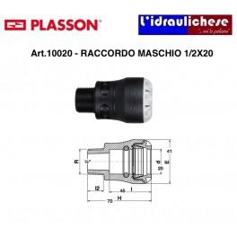 Raccordo Maschio a innesto Rapido PLASSON Serie UNO 1/2x20