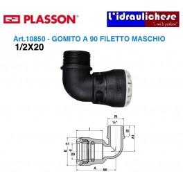 Raccordo Maschio Curvo a innesto Rapido PLASSON Serie UNO 1/2x20