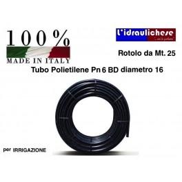 TUBO POLIETILENE Ø 16 PN 6 BD Mt.25 per Irrigazione Made Italy