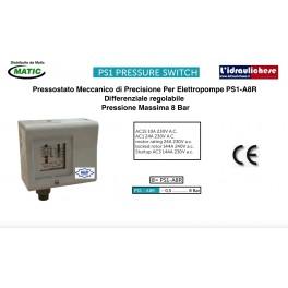 Pressostato Elettromeccanico Per Elettropompe ALCO PS!-A3R pressione max.8 Bar
