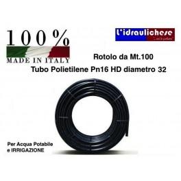 TUBO POLIETILENE Ø 32 PN 16 HD Mt.100 per acqua potabile o irrigazione  Made Italy