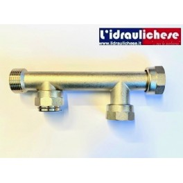 """Raccordo in ottone Nichelato diametro 1""""  TE DUE VIE MF per sistema di irrigazione a collettore componibile"""