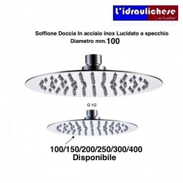 SOFFIONE DOCCIA ULTRA PIATTO in acciaio INOX lucidato a specchio. DIAMETRO 100 mm.